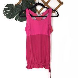 Athleta Pink Workout Tank Top Large Micro Stripe